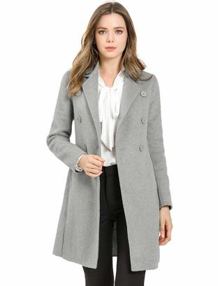 Allegra K Women's Elegant Notch Lapel Double Breasted Slit Hem Long Trench Coat Grey 8