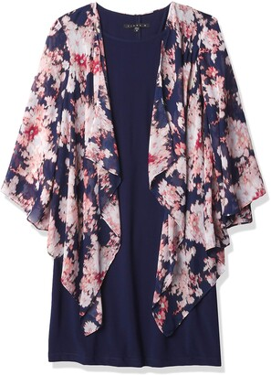 Tiana B Women's Abstract Floral Print Mock Jacket Over Solid Knit Sleeveless Dress