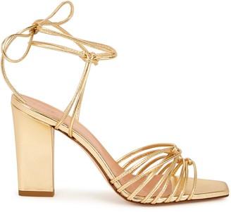 AEYDĒ Daisy 100 Gold Leather Sandals