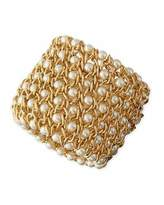 Kenneth Jay Lane Gold-Plated Mesh Bracelet with Simulated Pearls