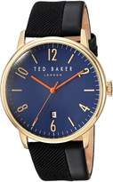 Ted Baker Men's 'DANIEL' Quartz Stainless Steel and Leather Dress Watch, Color: (Model: 10031571)