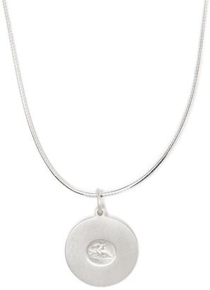 VICTORIA STRIGINI small Cupid disc pendant silver necklace