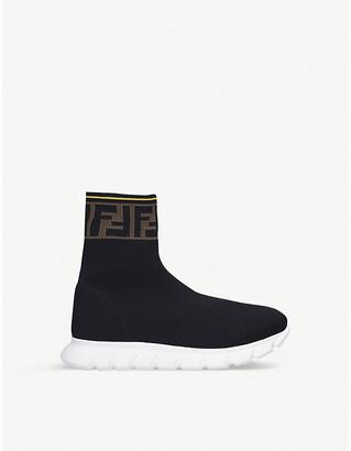 Fendi Logo-trim knitted sock trainers 7-12 years