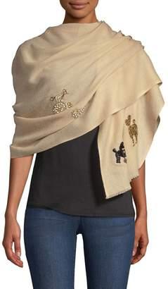 Janavi Cashmere Embellished Poodle Wrap Scarf