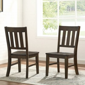 Gracie Oaks Losoya Solid Wood Slat Back Side Chair in Brown (Set of 2