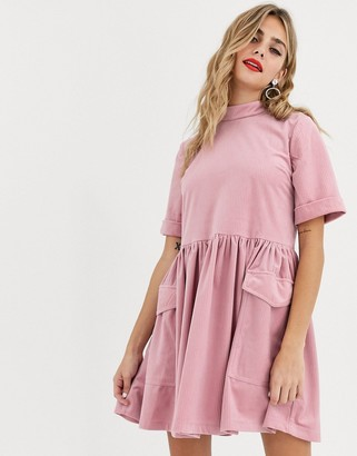 Asos Design DESIGN mini cord smock dress with utility pockets-Pink