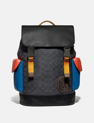 Coach Rivington Backpack In Colorblock Signature Canvas With Patch