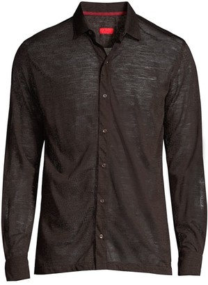 Isaia Merino Wool Knit Collared Shirt