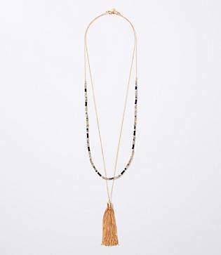 LOFT Beaded Tassel Necklace