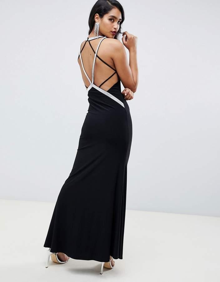 Asos Design DESIGN low back maxi with rhinestone straps dress