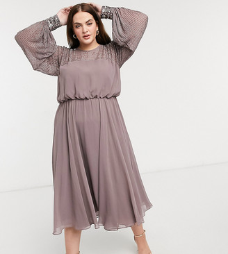 ASOS DESIGN Curve midi dress with linear yoke embellishment