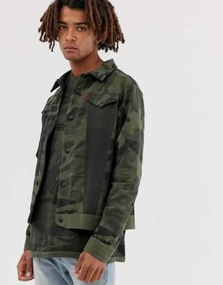 Levi's Levis Lej Engineered camo print knit trucker jacket in green