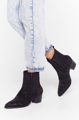 Nasty Gal Womens Embellish the Moment Faux Suede Western Boots - Black