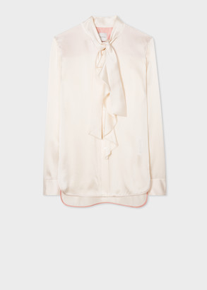 Paul Smith Women's Cream Satin Silk Tuxedo Shirt With Ruffle And Bow Detail