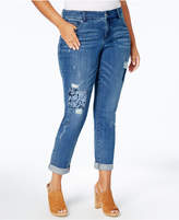 INC International Concepts Plus Size Ripped Jeans, Created for Macy's