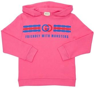 Gucci Cotton Sweatshirt Hoodie W/ Logo Print