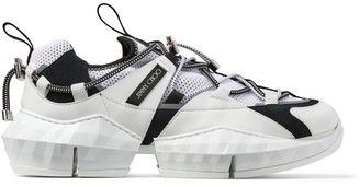 Jimmy Choo DIAMOND TRAIL/M Black and White Stretch Mesh Trainers with Leather Detailing