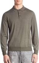 Brunello Cucinelli Men's Slim-Fit Striped Long Sleeve Polo