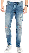 GUESS Slim Tapered Distressed Moto Jeans