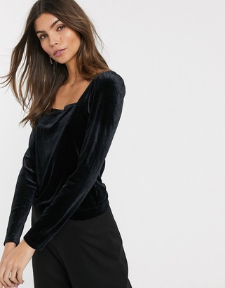 And other stories & velvet puff sleeve square neck top in black