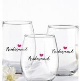 Kate Aspen Set of 4) Bridesmaids Pink Heart 15 Oz. Stemless Wine Glass