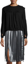 Isabel Marant Nathanel Pleated Long-Sleeve Top, Black