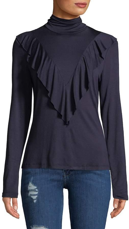 Ella Moss Women's Turtleneck Ruffled Pullover