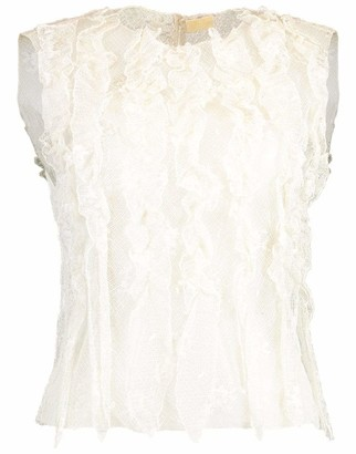 Krizia Industria S.P.A. Sleeveless Lace Blouse with Front Ruffles