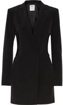 DKNY Ribbed-knit Paneled Stretch-crepe Playsuit - Black
