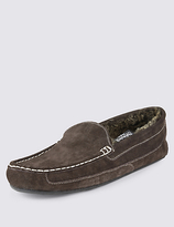 M&s Collection Suede Moccasin Slippers With Thinsulatetm