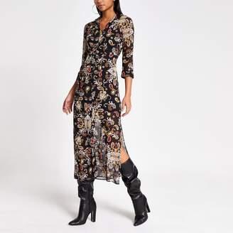 River Island Womens Black print long sleeve sheer shirt dress