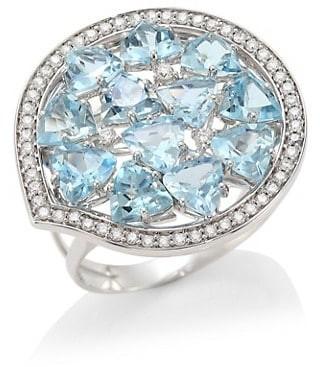 Hueb Trilliant 18K White Gold, Aquamarine & Diamond Statement Ring