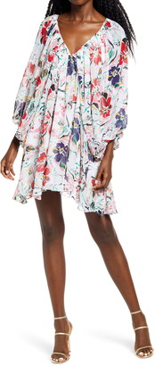 Socialite Floral Print Long Sleeve Minidress