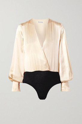 Reformation Beverly Wrap-effect Silk-satin And Stretch-tencel Bodysuit - Cream