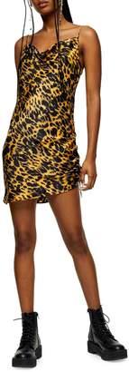 Topshop New Animal-Print Ruched Mini Satin Slip Dress
