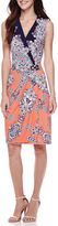 Robbie Bee Sleeveless Medallion Print Faux-Wrap Sheath Dress
