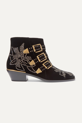 Chloé Susanna Crystal-embellished Velvet Ankle Boots - Black