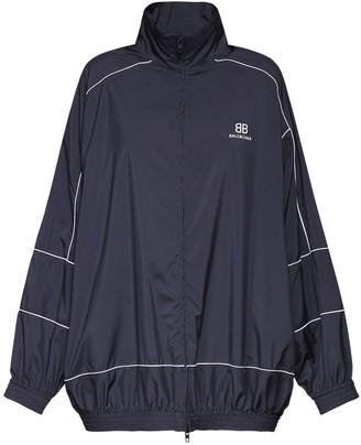 Balenciaga Logo Tech Poplin Zip-Up Jacket