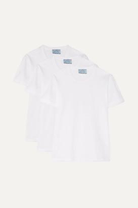 Prada Set Of Three Cotton-jersey T-shirts - White