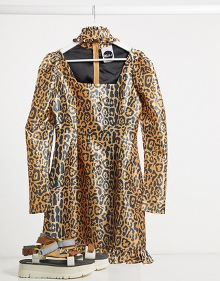The Ragged Priest Milk It Vintage puff sleeve leopard dress with cut out detail
