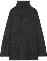 Madeleine Thompson Charlotte Ribbed Wool And Cashmere-blend Turtleneck Poncho - Charcoal