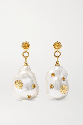 Yvonne Léon 9-karat Gold, Pearl And Citrine Earrings - one size
