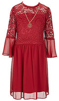 I.N. Girl Big Girls 7-16 Bell-Sleeve Lace Inset Dress