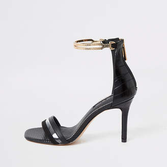 River Island Black high heel gold ankle cuff sandal