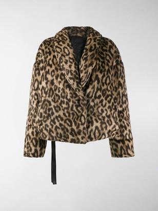 Unravel Project Leopard-Print Down Jacket