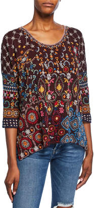 Johnny Was Plus Size Zora Embroidered Scoop-Neck 3/4-Sleeve Top