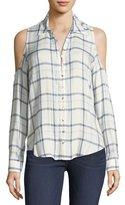 Paige Bellini Plaid Cold-Shoulder Button-Front Shirt