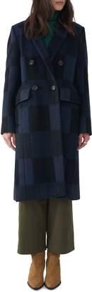 SOSKEN Jo Buffalo Check Wool Blend Coat