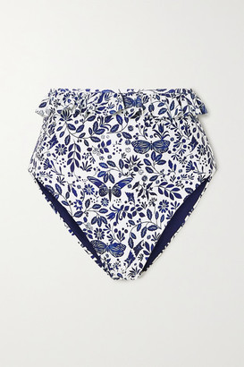 Agua Bendita Alicia Ruffled Printed Bikini Briefs - Blue