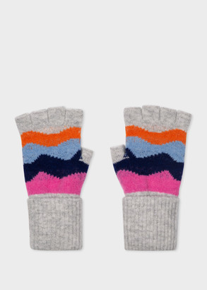 Paul Smith Women's Grey 'Mountain Stripe' Wool Fingerless Gloves
